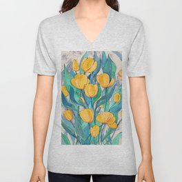 Blooming Golden Tulips in Gouache Unisex V-Neck