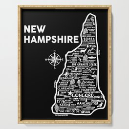 New Hampshire Map  Serving Tray