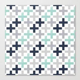 Swiss cross pattern minimal nursery basic grey and white camping cabin chalet decor Canvas Print
