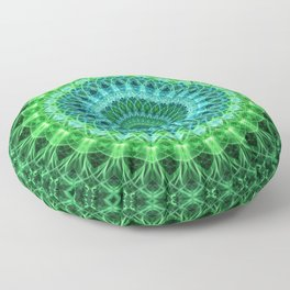 Mandala in bright green and blue Floor Pillow