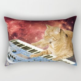 Space Cat with Synthesizer 1 Rectangular Pillow