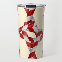 CREAMY YELLOW  RED-WHITE PINK  CHRISTMAS CANDY CANES Travel Mug