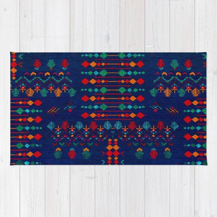 -A17- Anthropologie Moroccan Blue Artwork. Rug