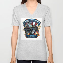 American Built Muscle - Classic Muscle Car Cartoon Illustration Unisex V-Neck