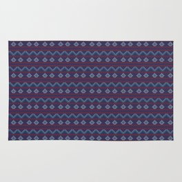 Blue And Red Knitted Christmas Decor Rug