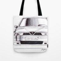 gta Tote Bags featuring Alfa Romeo 155 GTA by Michele Leonello