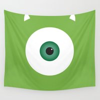 pixar Wall Tapestries featuring PIXAR CHARACTER POSTER - Mike Wazowski 2 - Monsters, Inc. by Marco Calignano