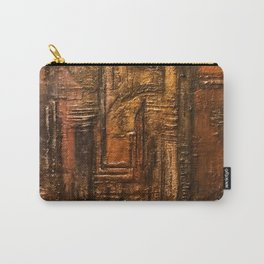 Rich Brown Bronze Heavy Textured Acrylic Painting Carry-All Pouch