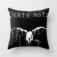 death note Throw Pillows featuring Death Note by bosphorus