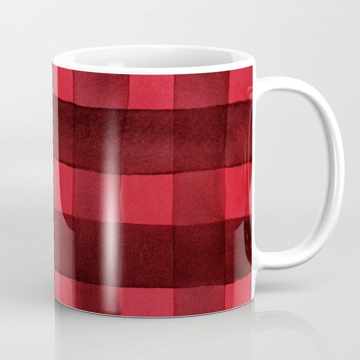 Buffalo Plaid Watercolor in Red Coffee Mug
