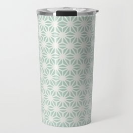 Seafoam Green Asanoha (Hemp Leaf) Pattern Travel Mug
