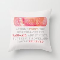 looking for alaska Throw Pillows featuring Looking For Alaska: Bandaid by lsmyang