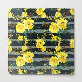 Yellow black gray watercolor modern floral stripes Metal Print
