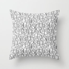 Elio's Shirt Faces in Black Outlines on White Throw Pillow