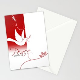 Peace on Earth Dove in Red and White Stationery Cards
