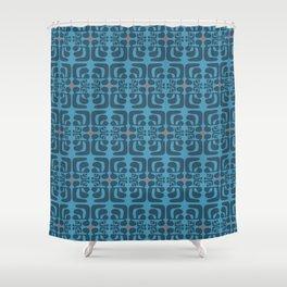 mod blue waves Shower Curtain