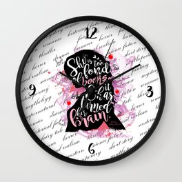 She is Too Fond of Books - White Wall Clock