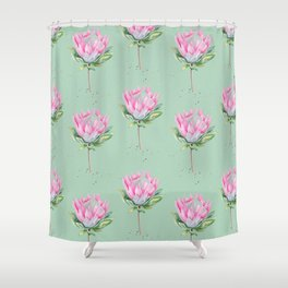 Protea Floral Pattern Shower Curtain