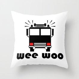Firetruck Wee Woo Throw Pillow