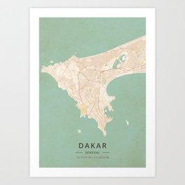 Dakar, Senegal - Vintage Map Art Print