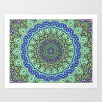 Lovely Healing Mandala  in Brilliant Colors: Purple, Black, Gold, Mint, and Sunset Yellow Art Print