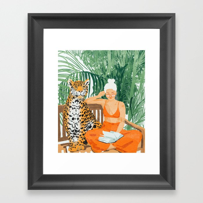 Jungle Vacay, Tropical Nature Painting, Woman & Wildlife, Tiger Palms Illustration, Fashion Gerahmter Kunstdruck
