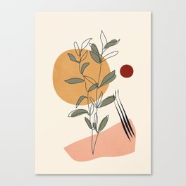 Minimal Line Young Leaves Canvas Print