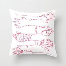 Classic Horror Hands (Red Line) Throw Pillow