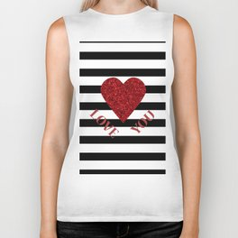LOVE YOU Valentine print. Red glitter heart and black stripes congratulation card Biker Tank