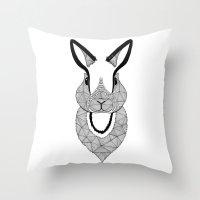 rabbit Throw Pillows featuring Rabbit by Art & Be