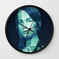 katniss Wall Clocks featuring Katniss Everdeen by Dr.Söd