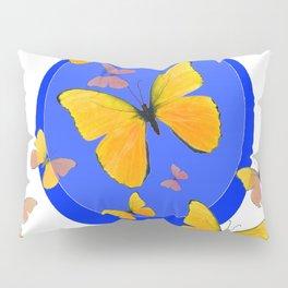 YELLOW BUTTERFLIES SWARM & BLUE RING MODERN ART Pillow Sham