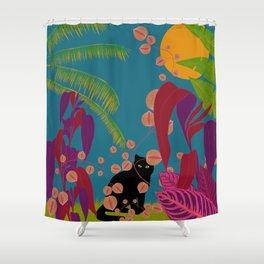 Black Cat In The Outside World Shower Curtain