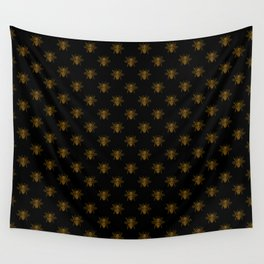 Foil Bees on Black Gold Metallic Faux Foil Photo-Effect Bees Wall Tapestry