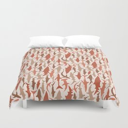 Swimming with Sharks in Coral and Brown Duvet Cover