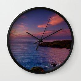 jacks bay sunset colorful panorama scene Wall Clock
