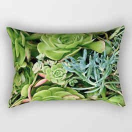 Green Succulents Rectangular Pillow