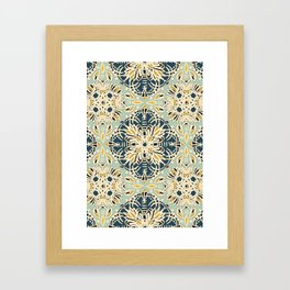 Protea Pattern in Deep Teal, Cream, Sage Green & Yellow Ochre  Framed Art Print