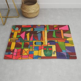 Colors In Collision 1 - Geometric Abstract of Colors that Clash Rug