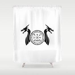 Norse Dragon - Vegvisir Shower Curtain
