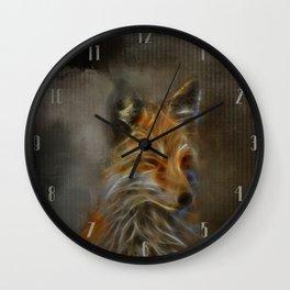 Abstract fox portrait Wall Clock