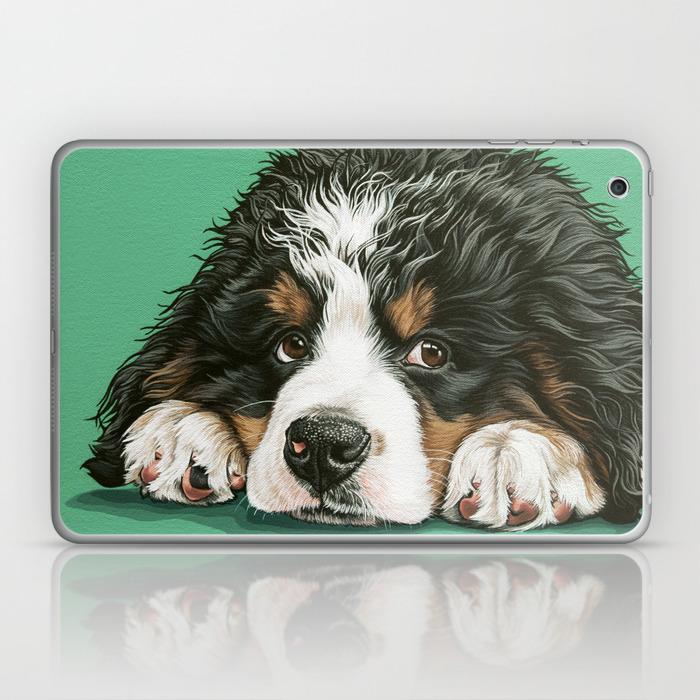 Cute Bernese Mountain Dog Puppy Pet Portrait Laptop Ipad Skin By Sydneyhardin Society6