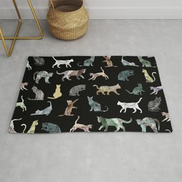 Cats shaped Marble - Black Rug