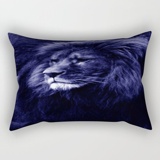 Indigo Blue Lion. Rectangular Pillow