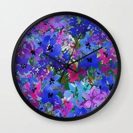 Cool Blue Summer Garden Wall Clock