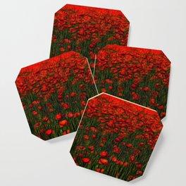 red poppy in the garden Coaster