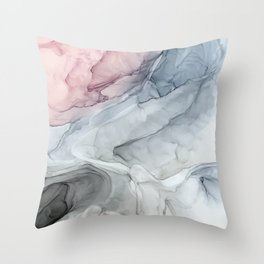 Pastel Blush, Grey and Blue Ink Clouds Painting Throw Pillow