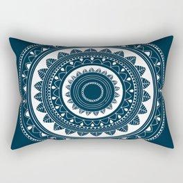 Ukatasana white mandala on blue Rectangular Pillow