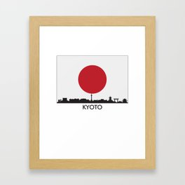 Kyoto Japan Skyline Japanese Flag Framed Art Print