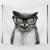 clock Wall Tapestries featuring Mr. Owl by Isaiah K. Stephens